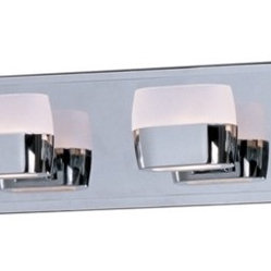 "ET2 - ET2 Ellipse 40"" Wide Polished Chrome Bath Vanity Fixture - The ultra modern design of the Ellipse 6-light bath vanity fixture features six lights with oval-shaped cast heads finished in polished chrome. Contoured Frost glass adorns the top for uplighting and a Frost glass disc in the bottom allows for ambient downlighting. Powerful xenon bulbs make this fixture as functional as it is beautiful. From ET2 Lighting. Metal construction. Polished chrome finish. Matte white Frost glass. Includes six 75 watt G9 xenon bulbs. 40"" wide. 5"" high. Extends 4"" from the wall.  Metal construction.   Polished chrome finish.   Matte white Frost glass.   Includes six 75 watt G9 xenon bulbs.   40"" wide.   5"" high.  Extends 4"" from the wall."