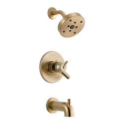Delta - Delta T17459-CZ Trinsic Series Tub/Shower Trim - The Delta T17459-CZ is a Trinsic Series Tub/Shower Trim. This shower trim features a Monitor 17 Series Pressure Balanced Bath Mixing Valve, an H2OKinetic shower head, a shower arm and flange, a back-to-back installation capability, a solid brass construction, a lever handle for precise volume control, a pull-up diverter tub spout, a temperature adjustment dial, and a field adjustable hot water zone limit. This trim kit requires an R10000 Series MultiChoice Universal Rough Valve Body, which is sold separately. This model comes in a refined, Champagne Bronze finish.