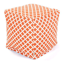 Majestic Home - Outdoor Burnt Orange Bamboo Small Cube - What could be cooler than this updated beanbag that serves as a footstool, side table or comfy seat — indoors or out? Maybe the fact that the stylish bamboo pattern is printed on easy-care cotton twill so you can just unzip the slip and toss it in the wash.