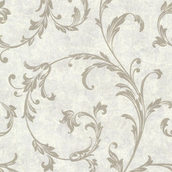 Bradford - Bh Buckingham Milton Wallpaper - This elaborate Baroque style wallpaper gives your walls the royal treatment. An heirloom patina and an elaborate glitter scroll motif create a regal backdrop in an incandescent pewter palette. Each wallpaper bolt is 20.5 inches wide and 33 feet long, covering about 56 square feet. The pattern has a 25.2 inch repeat and a Straight match.