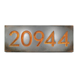 "Neutraface Address Plaque 18.5"" x 7"" in recessed Iron Rust - The Neutraface Address Plaque derives its name from the typeface designed by the forward looking architect, Richard Neutra. Neutra introduced big-building concepts to residential homes with such modern elements as floor to ceiling glass walls, roof top reflecting pools, and steel framing. His typeface is true to his modernistic style with its strong, very geometric, sans-serif design. It fits both modern, and neo-modern designs and is a grand fit for buildings and spaces with strong modern angular elements. This is the same font that you will find at Design Within Reach (DWR)."