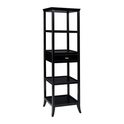 Sterling Lighting - Sterling Lighting Bailey Street Tamara Tower, Ebony - Top has a graceful curved/ removable serving tray.  One drawer and four shelves.  Diverse functionality as a bar or room divider.