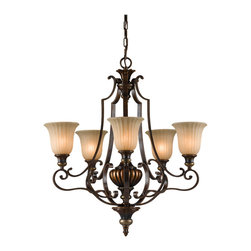 Murray Feiss - Firenze Gold / British Bronze Kelham Hall 5 Light 1 Tier Chandelier - Lamping Technologies: