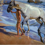 """Joaquin Sorolla Y Bastida The Horse Bath - 16"""" x 20"""" Premium Archival Print - 16"""" x 20"""" Joaquin Sorolla Y Bastida The Horse Bath premium archival print reproduced to meet museum quality standards. Our museum quality archival prints are produced using high-precision print technology for a more accurate reproduction printed on high quality, heavyweight matte presentation paper with fade-resistant, archival inks. Our progressive business model allows us to offer works of art to you at the best wholesale pricing, significantly less than art gallery prices, affordable to all. This line of artwork is produced with extra white border space (if you choose to have it framed, for your framer to work with to frame properly or utilize a larger mat and/or frame).  We present a comprehensive collection of exceptional art reproductions byJoaquin Sorolla Y Bastida."""