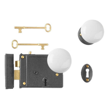 "Renovators Supply - Rim Locks Black Steel/Zinc Rim Lock White Knob 5'' x 3 1/4"" - Rim Lock: This Black Steel/Zinc, Rim Latch locks with a skeleton key to activate a deadbolt. Rose, white porcelain knobs and a pair of skeleton keys included. Size is 5 in. x 3 1/4 in."