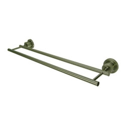 "Kingston Brass - Kingston Brass Satin Nickel Concord 24"" Dual Towel Bar BA8213SN - Kingston Brass' bathroom accessories are built for long-lasting durability and reliability. They are designed so you can easily coordinate matching pieces. Each piece is part of a collection that includes everything you need to complete your bathroom decor. All mounting hardware is included and installation is easy. Manufacturer: Kingston Brass. Model:BA8213SN. UPC: 663370039904. Product Name: 24"" Dual Towel Bar. Collection / Series: Concord. Finish: Satin Nickel. Theme: Contemporary / Modern. Material: Brass. Type: Accessories. Features: Constructed from solid brass for durability and reliability. Solid die cast construction & legendary reliability . Fine artistic craftsmanship . Easy installation. All mounting hardware included."