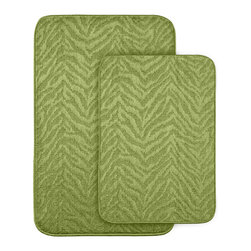 None - Wild Style Lime Green Bath Rug 2-piece Set - Add fun, comfort and style to your bath or shower room with these Wild Style animal stripe bath and shower rugs. Each bath rug is backed with non-skid latex to prevent slipping.