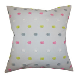"""The Pillow Collection - Jael Dots Pillow Gray 18"""" x 18"""" - This polka dots throw pillow is a playful addition to your interiors. Adorned with a multicolored pattern, this accent pillow is perfect for your living room, bedroom or children's room. Create dimension and texture to your sofa, bed or couch by adding a few pieces of this toss pillow. Made of 100% high-quality polyester material."""