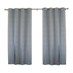 """Best Home Fashion - Chevron Room Darkening Grommet Top Curtain 84""""L - 1 Pair, Grey - These modern Chevron grommet top curtains will pull together any home decor."""