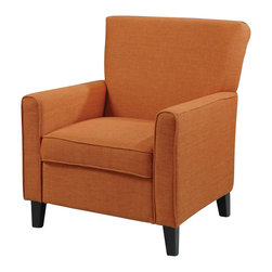 Coaster - Coaster Club Chair in Orange - Coaster - Club Chairs - 902094 - This decorative accent chair will dare you to make a bold furniture statement with a vibrant orange upholstery and a fresh and modern style. Designed with a somewhat simple structure this chair features smooth pulled upholstery with exposed wood legs and thin track arms. Soft seat cushions add comfort and support while welt cord trim creates a fine tailored accent. Appropriate for use with casual contemporary and transitional styles this chair will supply you with a soft cushioned comfort and a bold fashion statement.