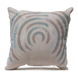Corkscrew Pillow - Wonderful banded blends of cool earth tones and aquamarine blues fill the concentric broken circles of our Corkscrew Pillow, silk-screened by hand onto concrete-colored linen for an intriguing color effect that looks summery and vibrant in neutral surroundings while adding a cool note to bright transitional rooms.  The variegated colors are instantly refreshing.  This square linen accent cushion has a hidden bottom zipper and is filled with an insert of natural feathers.