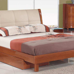 Global Furniture - Evelyn King Bed Cherry in Cherry With Beige PU Finish - Evelyn King Bed Cherry in Cherry With Beige PU Finish. Underbed drawer not included.