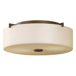 Murray Feiss - Murray Feiss Sunset Drive Transitional Flush Mount Ceiling Light X-BC313MF - Contemporary curvature, clean lines and a chic but modern drum shade draw the eye in on this Murray Feiss flush mount ceiling light. From the Sunset Drive Collection, it features a beautiful pearl glass shade that compliments the deep, rich tones of the Corinthian Bronze finish.