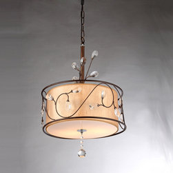 Warehouse of Tiffany - Amelia Bronzetone and Round Fabric Shade Chandelier - The retro good looks of this Amelia Chandelier bring artistic appeal to your dining room table. The lamp features crystal accents and a champagne shade to gently reflect the light and enhance your settings.