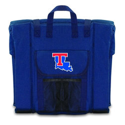Picnic Time - Louisiana Tech Stadium Seat in Navy - The Stadium Seat is ideal for anyone who enjoys sporting events, concerts, or other arena activities. This padded seat is made of durable 600D polyester and provides maximum seat support, which is especially useful when sitting on hard bleacher seats or benches. EPE foam in the seat's core also insulates your seat from cold bleachers. A large zippered pocket keeps all of your essentials within reach. Convenient carry straps allows the seat to be carried as a folded tote. You'll want to take the Stadium Seat to every spectator event to ensure your seating comfort.; College Name: Louisiana Tech; Mascot: Bulldogs; Decoration: Digital Print