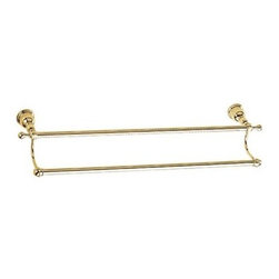 """Danze - Danze® Opulence™ Double Towel Bar 24"""" - Polished Brass - Danze® products are beautiful inside and out, from our rich, lustrous finishes to our ceramic disc valves with a Drip-Free guarantee to our solid brass waterways. Curvaceous, elegant, tasteful...just a few words that describe the Opulence™ Collection. Showcasing classical ornate beauty, the Opulence™ will transport you back to a time when form was as important as function. Available in multiple finishes. Features Solid brass construction Mounting hardware included Manufacturer's limited """"lifetime"""" warranty View Spec Sheet"""