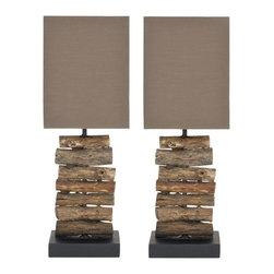 Safavieh - Woodland Mini Table Lamp ZMT-LIT5018A (Set of 2) - Natural; Brown Shade - Natural found wood is a building block of rustic chic style and the charming Woodland Mini Table Lamp. A stack of old tree branches is cut to uniform size, and cleaned to enhance their natural color. This lamps comes with stylish brown shade woven of cotton and Terylene fibers. (Sold in set of 2).