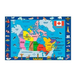 Fun Rugs - Fun Time - Map of Canada Kids Rugs - 63 x 90 in. - Your child's room is a natural extension of them. Add these innovative designs to spruce up any child's decor.