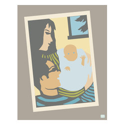 "Emma at Home - We Three Print, Blue, 11"" x 14"" - This is the perfect gift for new parents. The classic image of mom and dad holding their new baby evokes a universal feeling of love that would be great in a nursery. Frame it and wrap it up for your next baby shower."