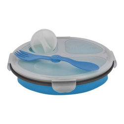 Smart Planet - Collapsable Eco Meal Kit - 3 Compartment, Blue - Colorful and smart, these bento boxes will keep your food perfectly contained. Each Collapsible Eco Meal Kit features three inner compartments, a condiment container, reusable utensil and lid. Expand for ample room, or collapse to half its size for space-saving storage. Either way, you'll be saving on valuable resources when you to choose to reuse!