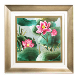 China Furniture and Arts - Lotus Flower Silk Embroidery Frame, B - Silk embroidery is a Chinese art form with origins dating back millennia. With each piece containing thousands of tiny threads, a composition requires an extremely high level of skill to create. The lotus flowers featured on this embroidery symbolize honesty and purity in Chinese culture. The reflective nature of the silk thread allows the vibrant pink and green tones to stand out beautifully in light. Museum quality framing makes this piece ready to hang and make a statement on any wall it adorns.