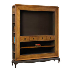 French Heritage - Denis Entertainment Center - This entertainment center embodies the spirit of European living — not a space must be wasted. This cabinet is perfectly large enough to house your electronics but also allows you to stash remotes, TV guides, movies, books and more on every side.