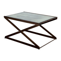 Accordio Coffee Table - Strip down your style with this iron coffee table. With a copper patina and an antiqued mirror glass top, this unique and striking table will class up your living room with old-world industrial charm.