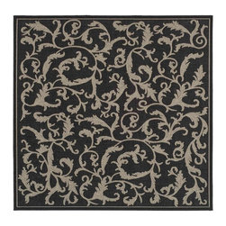 Safavieh - Polypropylene Square Rug in Black (6 ft. 7 in. x 6 ft. 7 in.) - Size: 6 ft. 7 in. x 6 ft. 7 in. Country style. Specially-developed sisal weave. Power loomed. Intricate and elaborated design. Machine made. Made from polypropylene. Made in Belgium. Safavieh takes classic beauty outside of the home with the launch of their Courtyard Collection. Care Instructions: Vacuum regularly. Brushless attachment is recommended. Avoid direct and continuous exposure to sunlight. Do not pull loose ends; clip them with scissors to remove. Remove spills immediately; blot with clean cloth by pressing firmly around the spill to absorb as much as possible. For hard-to-remove stains professional rug cleaning is recommended.