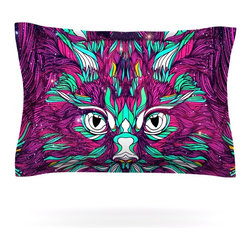 """Kess InHouse - Danny Ivan """"Space Cat"""" Pillow Sham (Cotton, 40"""" x 20"""") - Pairing your already chic duvet cover with playful pillow shams is the perfect way to tie your bedroom together. There are endless possibilities to feed your artistic palette with these imaginative pillow shams. It will looks so elegant you won't want ruin the masterpiece you have created when you go to bed. Not only are these pillow shams nice to look at they are also made from a high quality cotton blend. They are so soft that they will elevate your sleep up to level that is beyond Cloud 9. We always print our goods with the highest quality printing process in order to maintain the integrity of the art that you are adeptly displaying. This means that you won't have to worry about your art fading or your sham loosing it's freshness."""