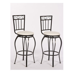 Simple Living - Simple Living Gabriella 30-inch Pub Stools (Set of 2) - Refresh the look of a bar or eat-in kitchen area with these chic Gabriella pub stools. The contemporary design includes decorative details such as curved legs. Neutral fabric and swivel movement provide added appeal. Ships as a set of two.