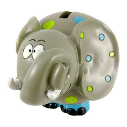 Adorable Polka Dot Elephant Money Bank Piggy - This adorable cold cast resin blue and green polka dot elephant figurine doubles as a piggy bank. The elephant measures 4 3/4 inches tall, 5 inches wide and 6 1/2 inches deep. The bank empties via a pull off plastic piece on the bottom. She is hand-painted, and makes a great gift for elephant fans.