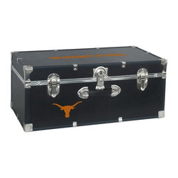 Seward Trunk - University of Texas Storage Trunk - Officially licensed. Front center key lock. One handle on the front. Paper lined to help protect interior contents. Screen printed logo. Heavy gauge vinyl. Nickel hardware and trim. Made from wood. Black finish. Made in USA. 30 in. L x 15.75 in. W x 12.25 in. H (18 lbs.)Storage you can show off!!!