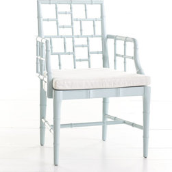 Chinese Chippendale Chair, French Blue - This fabulous French blue is without a doubt one of our favorite colors. We love the open-backed style as an occasional chair in a smaller space for comfort that doesn't take up a lot of visual room.