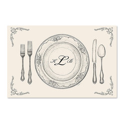 Frontgate - Monogrammed Paper Placemats - Custom 3-letter monogram printed in script font. Printed with soy based ink on recycled paper. Inspired by the beauty of vintage pieces. Available in three different designs: Perfect Setting, Flourish, and Italian Scroll. Set of 25 disposable placemats. Personalize your placemats with your monogram for a unique touch to any festive occasion. The eco-friendly placemats afford a beautiful yet practical enhancement to any event, from sophisticated to casual, and clean up easily when the party is over.  .  .  . . . Made in the USA.