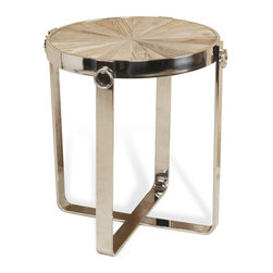 Kathy Kuo Home - Zanuso Industrial Reclaimed Elm Stainless Steel Circular Side Table - Gleaming stainless steel and natural reclaimed elm come together for a winning combination. The eclectic style and  traditional substance of this side table provide an elegant accent next to a sofa or chair. The petite proportions add a splash of style to any room.
