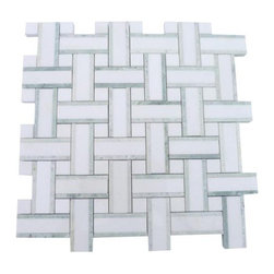 """GlassTileStore - Twine Olive Grove Marble Tile - Twine Olive Grove Marble Tile             This marble mosaic will provide endless design possibilities from contemporary to classic. It creates a great focal point to suit a variety of settings.         Chip Size: 2 7/8""""x3/4"""" Dot: 3/4""""x3/4""""   Color: Green and White    Material: Ming Green and White Thassos   Finish: Polished   Sold by the Sheet- each sheet measures 13""""x13"""" (1.17 sq.ft.)   Thickness: 10 mm            - Glass Tile -"""
