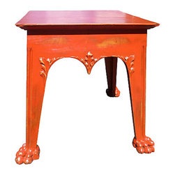 Antique Red Lion's Paw Table - Wonderfully distressed red pine table from the UK with hand carved detailing around the top edges. Legs end in powerfully rendered lion's paws. Beautiful next to a feminine or formal side chair. Can easily be painted for a totally different look. Table is from the early 1900's.