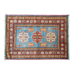 Oriental Rug, 2'X3' 100% Wool Tribal Design Super Kazak Hand Knotted Rug SH11249 - This collections consists of well known classical southwestern designs like Kazaks, Serapis, Herizs, Mamluks, Kilims, and Bokaras. These tribal motifs are very popular down in the South and especially out west.