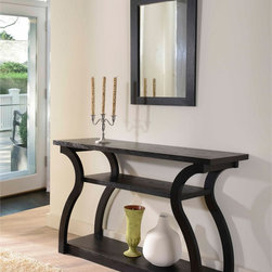 Furniture of America - Furniture of America Sara Black Finish Console Table - Add the finishing touches to your home decor with this black wood console table. Featuring two open shelves and a unique frame, this product is both functional and decorative. This stylish wood table is great for an entryway or a hallway.