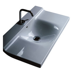 """WS Bath Collections - Buddy 3423 Wall Mounted Bathroom Sink 39.4"""" x 16.5"""" - Buddy by WS Bath Collections Bathroom Sink 39.4"""" x 16.5"""", Wall Mounted Washbasin, -Made in Italy"""