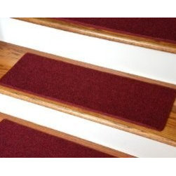 "Dean Flooring Company - Dean Non-Slip Tape Free Pet Friendly DIY Carpet Stair Treads/Rugs 27"" x 9"" (15) - Dean Non-Slip Tape Free Pet Friendly DIY Carpet Stair Treads/Rugs 27"" x 9"" (15) - Color: Red : Quality, Stylish Carpet Stair Treads by Dean Flooring Company. Extend the life of your high traffic hardwood stairs. Reduce slips/increase traction. Cut down on track-in dirt. Great for pets and pet owners. Made in the USA from quality, long lasting stain resistant olefin carpeting with non-slip padded foam backing. Stands up great to high traffic. A fresh new look for your staircase. Do-it-yourself installation is quick and easy with our unique non-slip backing. Simply place your stair tread rugs on your staircase and go. No tapes, adhesives, staples, glue, or Velcro needed. And rest assured, they won't move and they won't damage your hardwood either. They are also simple and easy to remove as well with no sticky residue left behind. Each tread is bound with color matching binding tape. No bulky fastening strips. You may remove your treads for cleaning and re-attach them when you are done. Add a touch of warmth and style to your stairs today with new stair treads from Dean Flooring Company! We make our own stair treads at Dean Flooring Company and our products are not available from anyone else."