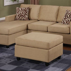 Hazelnut Microfiber Sectional Sofa with Reversible Chaise Ottoman - Set Includes 1 Chaise Lounge chair and 1 2-seat Sofa with 1 Cocktail Ottoman