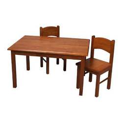Gift Mark - Gift Mark Home Kids Natural Hardwood Rectangle Table And Chair Set Honey Finish - The Gift mark Table and 2 Chair Sets are Made of Solid Wood. These Durable Table and Chair Sets will add a touch of sophistication to any child's room or Play Room. Intended specifically for your Child. Children Play for Hours on end. Our Solid Wood Table and Chair Sets clean easily with any High Quality Furniture Polish.