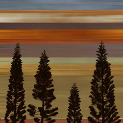Murals Your Way - Sunset Tree Silhouette 3 Wall Art - Similar to Sunset Tree Silhouette, this mural places blue, orange and purple horizontal stripes behind a trio of silhouetted fir trees.