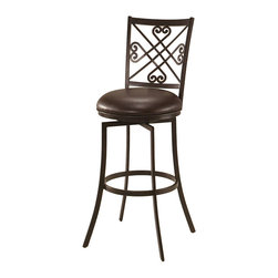 "Pastel - Savannah Swivel Barstool SV-225 - 30"" - The Savannah Swivel Barstool has a simple yet elegant design that is perfect for any decor. An ideal way to add a classic flair to any dining or entertaining area in your home. This swivel barstool features a quality steel frame with sturdy legs and foot rest finished in Autumn Rust. The padded seat is upholstered in Ford Brown offering comfort and style."