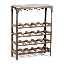 Kathy Kuo Home - Gallatin Industrial Metal Rustic Wood Narrow Console Wine Rack - A perfect marriage of French Country and Industrial Loft styles is brought to life in the  Gallatin Wine Rack.  Riveted corners, natural wood, and a slim line make it the perfect piece to enjoy Vino Veritas!