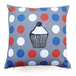 """Les Coussins d'Emilie - """"English Muffin"""" Cushion - Make a statement with this beautiful double-sided printed pillow! Muffin and dots on one side and plain beige on the other."""