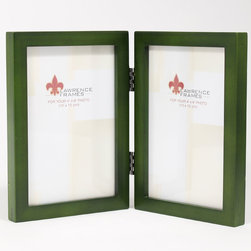"Lawrence Frames - 4x6 Hinged Double Green Wood Picture Frame - Gallery Collection - This wood picture frame is the same you will find in studios and galleries and is the perfect frame for simply and elegantly framing any image.  It is a high quality wood frame joined in the corners with a ""spline"" joint.  The molding is approximately 1 2 "" and is the perfect frame to use for a wall gallery.  This picture frame comes individually boxed, and includes high quality black wood backing with hangers for wall mounting."
