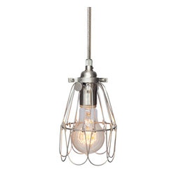 Hammers & Heels - Industrial Trouble Cage Pendant Light- Stainless Steel Cord - WIRE CAGE PENDANT LIGHT