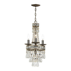 Crystorama - Crystorama-5263-Mercer - Four Light Mini Chandelier - Our Mercer collection has all the angles covered. It is stunning no matter how you look at it. The metal work is as beautiful as the waterfall of crystal beads and faceted jewels that adorn it. From below, the metal forms a floral design, like something you might see in a stained glass window.